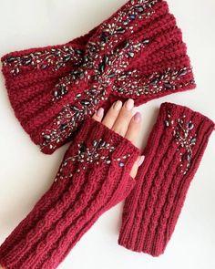 Knitting Pattern For Easy Knit Earwarmer - Diy Crafts - Marecipe Hand Knitting, Knitting Patterns, Crochet Patterns, Knitted Headband, Knitted Hats, Diy Crochet, Crochet Baby, Diy Crafts Knitting, Fingerless Mitts