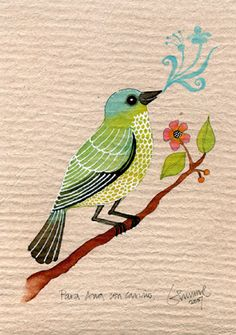 Geninne's Art Blog: October 2007 Art And Illustration, Illustrations, Art Drawings For Kids, Bird Drawings, Watercolor Bird, Watercolor Animals, Fabric Painting, Painting & Drawing, Guache