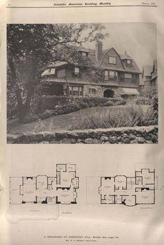 Vintage House Plans, Vintage Homes, Victorian Homes, Architectural House Plans, Tudor House, Modern Farmhouse Plans, Sims House, Architecture Plan, Mid Century House