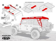 Jeep JK Easy Access Roof Rack The Patent Pending LoD Jeep JK Easy Access Sliding Roof Rack is finally here. The Patent Pending Roof Rack system allows Jeep Jk, Jeep Rubicon, Jeep Wrangler Accessories, Jeep Accessories, Wrangler Jl, Jeep Wrangler Unlimited, Jeep Racks, Jeep Tire Carrier, Jeep Camping