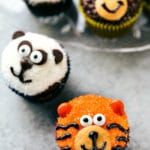 Four simple and easy to make Jungle cupcakes -- a monkey, tiger, panda, and zebra. So fun to make for a kid's birthday party!