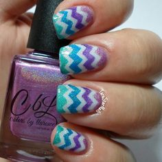 Colors By Llarowe Chevron Nails using: Yes, I AM The Tooth Fairy! (White Base), I Look Good In Stirrups (Pink), The Crowning Moment (Purple), Young Turks (Turquoise), Refresh...ing! (Green)