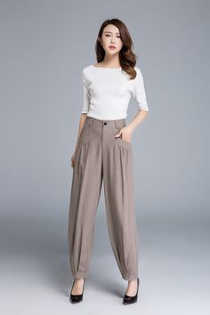 This linen casual pants is by button and zipper colsed c09840ae41f