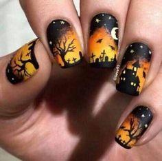 45 Creative Halloween Nail Art Designs Ideas You Need To Try Asap Fall Nail Art Designs, Black Nail Designs, Diy Nail Designs, Halloween Nail Designs, Simple Nail Designs, Nail Art Cute, Trendy Nail Art, Black Nail Art, Black Nails