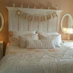 5 Panel Vintage Door Headboard - Antique White with Faux Distressing by Vintage Headboards 972-668-2603