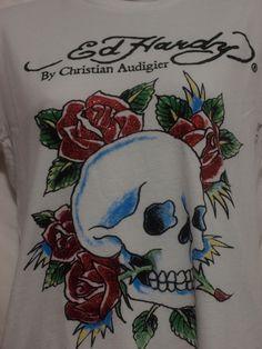 Ed Hardy womens white t-shirt skull and sparkling roses size L EUC