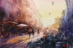 Rörstrandsgatan, Stockholm, watercolor Stefan Gadnell Stockholm, Macrame, Watercolor, Painting, Water Colors, Art, Pen And Wash, Watercolor Painting, Watercolour