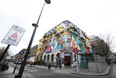 London's largest mural took two weeks to complete and over 150 litres of emulsion and 160 litres of spray paint were used. It encompasses two sides of the five story Georgian building in which both Karpo and the Megaro Hotel are situated. Designed and painted by four members of street art collective, Agents of Change: Remi/Rough from London, Edinburgh-based Steve More, LX.One from Paris, and LA-based Augustine Kofie.