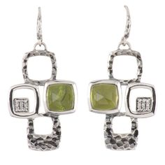 Hammer textured sterling silver earring featuring vesuvianite