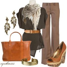 Casual office outfit with an earthy feel.