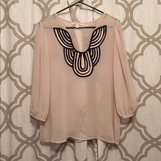 Date night blouse! Miami brand boutique-find blouse in cream with black scalloped design detail. Francesca's Collections Tops Blouses