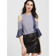 SheIn(sheinside) Navy And White Striped Bow Back Cold Shoulder Ruffle... (£12) ❤ liked on Polyvore featuring tops, blouses, flutter sleeve top, bow back blouse, frilly blouse, collar blouse and bow blouse