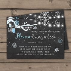 Baby shower Bring a book card Baby it's cold outside Snowflakes Chalkboard Blue…