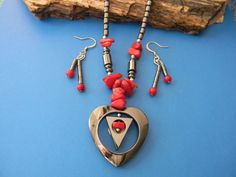 Hematite/Red Coral Set  Necklace and Earrings