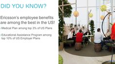 Great news – Ericsson's employee #benefits are among the best in the #USA! Interested in a career with us, check out our career site and join our talent community for job alerts and updates http://www.ericsson.com/careers