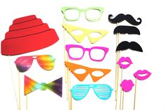 Photo Booth Props - The Totally 80s Collection - 14 piece prop set - Birthdays, Weddings, Parties - Photobooth Props