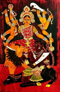 Mahishasuramardini Durga - Batik Painting on Cloth (Batik Painting on Cotton Cloth - Unframed)