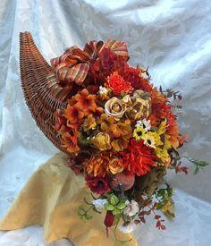 Fall Floral Arrangement, Fall Centerpiece, Autumn Cornucopia, Thanksgiving Centerpiece,
