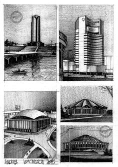 Drawing Architectural Bucharest Architecture on Behance - Architecture Drawing Sketchbooks, Architecture Concept Drawings, Pavilion Architecture, Architecture Graphics, Architecture Portfolio, School Architecture, Architecture Design, Architectural Drawings, City Buildings