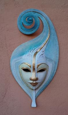 wow, beautiful wave mask, papier mache
