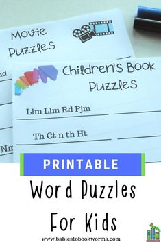 These fun word puzzles for kids remove the vowels from popular kid's books and shows. #printablepuzzles #kidactivities #puzzlesforkids #wordpuzzles #letteractivities #learningtoread