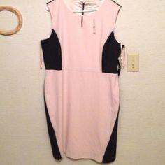 NY&CO color block sheath Beautiful!! Sz 18nwt Pink and black Ny&co color block dress sz 18 keyhole at the neck. Black back pink front view pics. Will take trades! New York & Company Dresses Midi