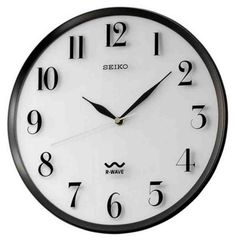 Seiko R-Wave Atomic Wall Clock - Light Silver Dial with Black Metallic Frame Wall Clock Light, Atomic Wall Clock, Wall Clocks, Wall Clock Brands, Wall Clock Online, Home Clock, Black Clocks, Tabletop Clocks, Radio Wave