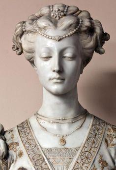 Large marble gilded 19thC French bust. Matelda.