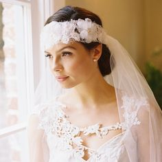 GIGI 1920S FRENCH LACE FOREHEAD BAND | Erica Elizabeth Designs and Pretty Things Wedding Acccesories