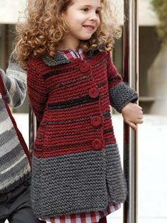Knitting For Kids Baby Knitting Patterns, Knitting For Kids, Crochet For Kids, Free Knitting, Crochet Baby, Knit Crochet, Knit Baby Sweaters, Knitted Coat, Baby Knitting