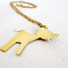 Cat Necklace Gold Plated Brass Animal Jewelry by HilaBinyamin, $44.00