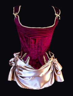 Red corset Gold trim decadence 18th Century by StraightLacedSF, $450.00