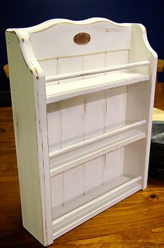 Once a plain wooden spice rack... new coat of CHALK PAINT and now a SHABBY CHIC COUNTRY SPICE RACK