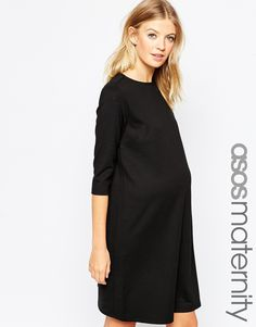 ASOS+Maternity+Shift+Dress+In+Ponte+With+3/4+Sleeves