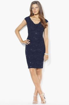 this would be totally out of place at a rustic mountain-side retreat. But I like it anyway. Lauren Ralph Lauren Embellished Lace Sheath Dress available at Nordstrom