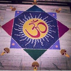 Colorful om rangoli design
