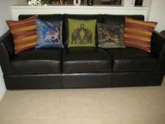 3 seater leather sofa in chocolate brown. Purchased from Tony Sadlers in 2009. Very good condition. Pick up only.