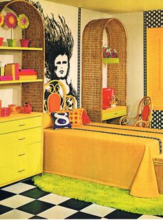 1960s interiors were known for their bright colours and 'hippy' furnishings. Decor and wall coverings (such as the wall mural in the above image) were often inspired by pop culture at the time.