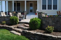 Outdoor space designed by @TheWordGroupInc, thewordgroupinc.com #landscapedesign #outdoorroom #stone #steps #patio