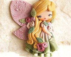 polymer clay necklace / fairy/ fimo/ clay / zingara creativa/roses