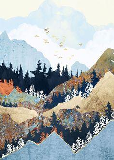 Canyon and Mountains Central Oregon Watercolor Mid Century Original Artwork