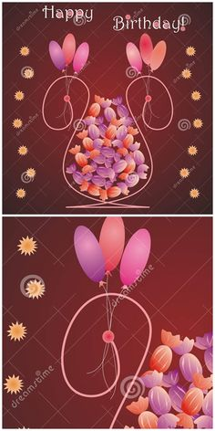 #Flower #vase shaped birthday #card with #candies, balloons and #stars