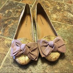 Madden Girl Bow Flats Gold/beige Madden Girl flats with a light pink bow on the front. Super adorable and comfortable! Easy to dress up or down. Only wore twice to 2 weddings, in amazing condition.  Any questions let me know  I only negotiate through the offer feature & I don't trade. Madden Girl Shoes Flats & Loafers