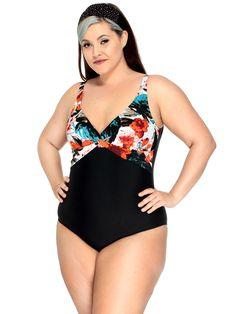 Black & Floral Swimsuit