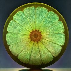 X LAB MANDALA- This is a photorealistic oil paining of a lime, by Dennis Wojtkiewicz.