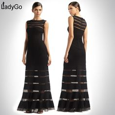 Aliexpress.com : Buy LADY GO New Fashion 2014 Knitted Mesh Stripe Sexy Classic Black Gown Maxi Dress H428 Long Dress Elegant Long Evening Dress from Reliable Evening Dresses suppliers on Lady Go Fashion Shop