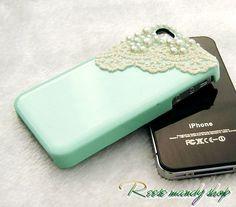 The fashion unique pearl bud silk mint green phone sets, optional color: colour makeup powder, taro purple, angel white, ivory color