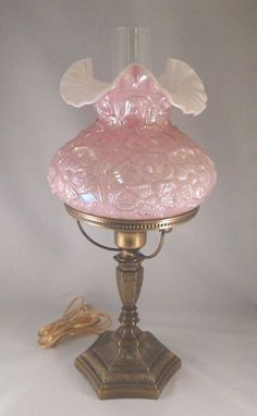 "FENTON Lamp Dusty Rose Pink Overlay Ruffled Opal Raised Poppy Brass Base 20"" Fenton Lamps, Fenton Glassware, Vintage Glassware, Glass Lamps, Glass Art, Kerosene Lamp, Hurricane Lamps, Indiana Glass, Unique Lamps"