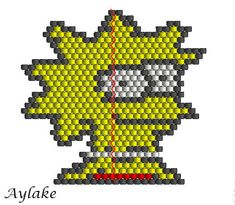 "Peyote necklace ""Lisa Simpson"" - aylake.com #aylake #peyote #necklace"