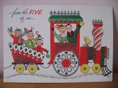 Glitter Train From 5, 1950's Vintage Christmas Greeting Card